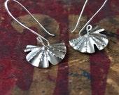 Half Leaf earrings, sterling silver dangles