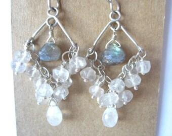 Quartz Labradorite Chandelier Sterling Silver Earrings