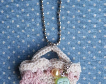 Crochet Motif Mini Tote Bag Charm - Pink Flower -