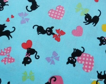 "Scrap / Japanese Fabric - Black Cats Heart and Bow on Blue - 110cm/43""W x 52cm/20.5""L (13u0220)"