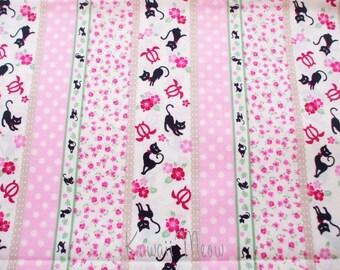 "SALE / Scrap - Stripes Cats Flower Pink - 110cm/43""W x 94cm/37""L  (u0104)"