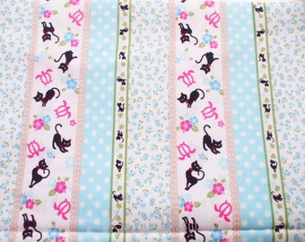SALE - Stripes Cats Flower Blue - Fat Quarter (u0104)