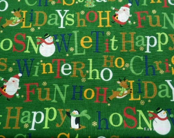 SALE Kawaii Japanese Fabric - Christmas Message  Green - Half Yard
