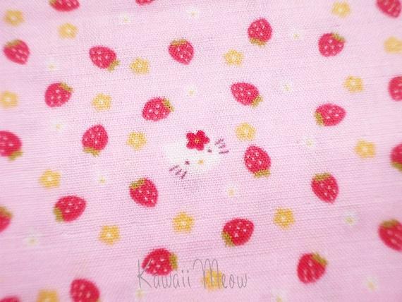 SALE Hello Kitty Fabric -  Strawberry Double Gauze - Half Yard (ma0426)