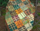 Gold Brown and Green Batik Bed Quilt
