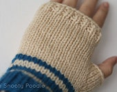 Fingerless Gloves Striped Blue and Cream