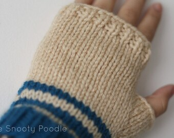 Fingerless Gloves Striped Blue and Cream