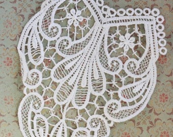 Beautiful Elaborate White Lace Embroidered Inset Panel Applique (1) Bridal, Wedding, Fancy Dress