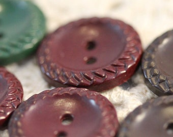 Vintage Scored Braided Edge Sew-Through Buttons (6) 18 mm Mix Of Browns and Green SALE
