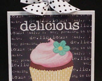 Definition of Delicious Adorable Wood Cupcake Plaque Sign