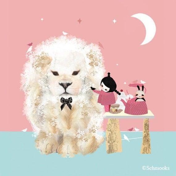 Children Art Print Nursery Lion - 'Tea Party for Hugo'