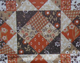 Vintage Gift Wrap All Occasion 1970s Brown Calico Quilt Pattern--Hallmark Wrapping Paper