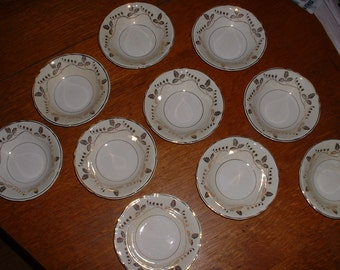 Vintage Gold Leaf  Knowles China berry bowls 5 1/4 inchset of 10 SALE