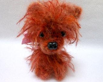Pomeranian Crochet Dog in Reddish Fuzzy Mohair Yarn, Canine, Stuffed Dog, Amigurumi, Stuffed Animal, Dog Lover, Pom