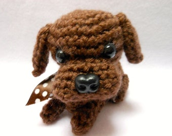 Small Chocolate Labrador Retriever Crochet Dog,Canine, Amigurumi, Stuffed Dog, Lab