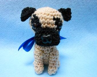 Little Pug Crochet Dog Amigurumi in Tan and Black ,Canine, Stuffed Dog, Stuffed Animal