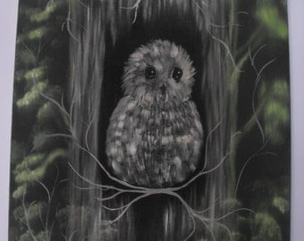Baby Owl Painting Owlet Black Green Grey Picture