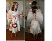 Valentines Day Cupid angel costume mascot OOAK  7 pc ensemble vintage dress, wings, quiver, bow...