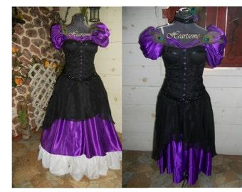 Masquerade gown Mardi Gras Victorian Formal dress 4 pc purple black corset headband