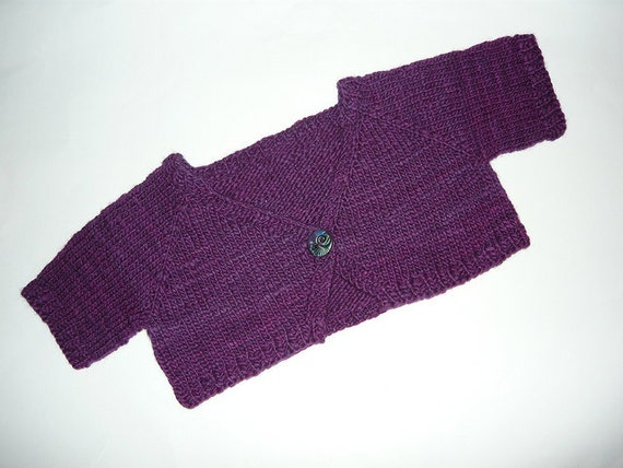 SALE Girl's very purple knitted shrug.