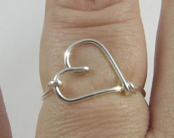 Love Heart  Ring, Silver Ring, Love Heart Jewelry, Wrapped Wire Ring, Simple Everyday Jewelry, Personalized Color