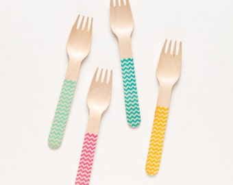 Chevron Wooden Utensils - Perfect Alternative To Plastic Utensils For Parties