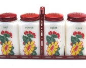 Tipp City Depression Glass Range Shakers Yellow and Red Flowers in Rack Salt Pepper Sugar Flour