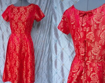 50s Dress // 50s Party Dress // Vintage 1950s Red and Gold Satin Brocade Party Dress with Three Bows at Back by Carol Rodgers Juniors Size