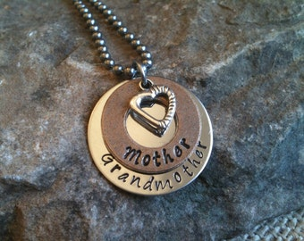 Metal Hand Stamped Jewelry Mother's Grandmother's Charm Necklace Pendant Inspirational