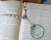 Magnifying Necklace Art Deco Glass Pearls and Silver Embellishments and Chain Magnifier Lens Decorative and Functional Examine Small Details