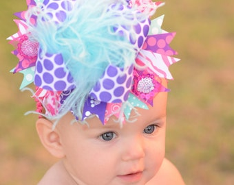 Dark Purple, Hot Pink, and Aqua Polkadot Over The Top Boutique Hair  Bow Free Shipping On All Addional Items