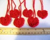 Set of 6 Small Yarn Hearts Red