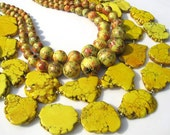 Sunshine yellow howlite with vintage painted beads handmade statement necklace