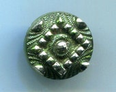 Antique Black Glass Button with Orig. Beautiful Green Tint and Silver Luster