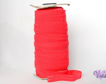 "5 Yards Watermelon Coral  : 5/8"" inch FOE Fold Over Lingerie Elastic Baby Headbands Hair Ties"