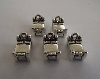 3d Bed Charms- 5 charms- antique silver charms