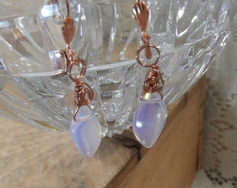 Wire wrapped earrings / Opalite briolette / copper