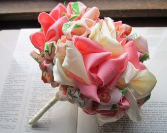 Vintage Fabric Wedding Bouquet * Playful Weddings * Kissing Frogs * Peach and Green * Vintage Fabric Pommery