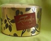 Vintage Faberge Powder and Puff Set in Woodhue