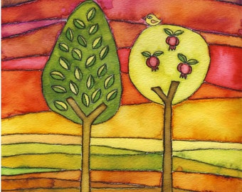 The Field - spiritual watercolor print and verse for weddings, housewarmings and holidays