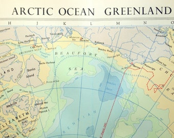 1958 Large Map of the Arctic Ocean and Greenland - Arctic Ocean Map