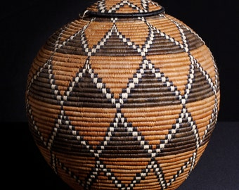 "Vintage African Zulu Beer Basket - Ukhamba - 15"" H X 39""C X 12.4"" D"