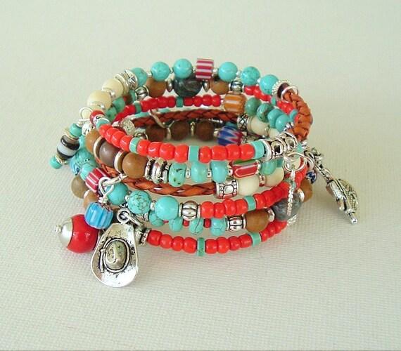 Boho Southwest Bracelet, Cowgirl Bracelet, Turquoise Jewelry, Stacked Bracelets, Rodeo