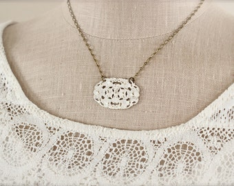 Shabby chic vintage style filigree necklace in cream.  Antique brass chain.  Sweet and simple. Weddings and bridesmaids.