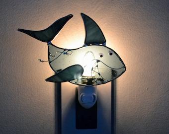 Keagan's Shark  Stained Glass Nightlight