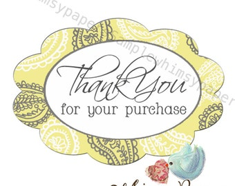"Yellow and Grey Paisley ""Thank You for your purchase"" oval stickers - set of 50"