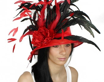 Laurie Red and Black Gergana Kentucky Derby or Wedding Hat
