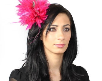 Fuchsia Guinea Fascinator Hat for Kentucky Derby, Weddings and Christmas Parties on a Headband
