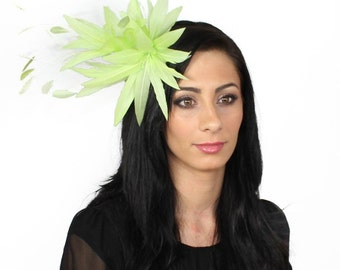Spike Lime  Fascinator Kentucky Derby or Wedding Hat With Headband