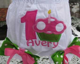 cupcake bloomers,1st birthday, any number and name,birthday bloomers, smash cake bloomers, diaper cover,